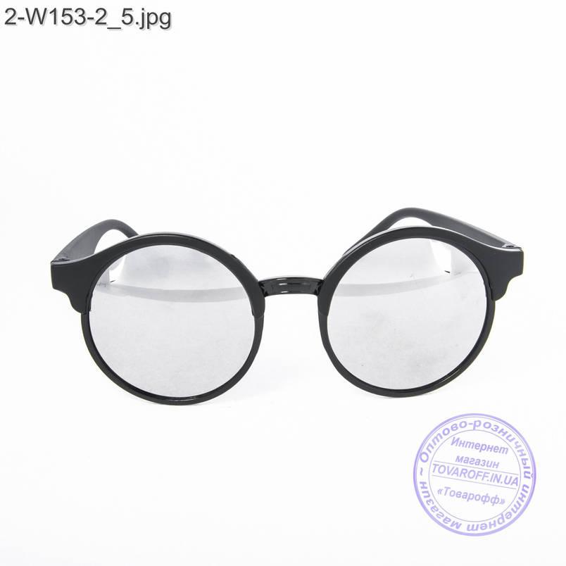 Оптом солнцезащитные очки унисекс - черные зеркальные -2-W153-2, фото 2