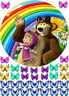 Вафельная картинка для тортов Маша и Медведь 94