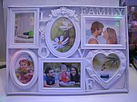 "Стильная белая фоторамка коллаж на 6 фото ""Love Family"""