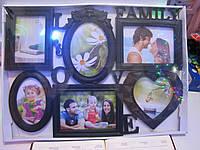 "Стильная черная фоторамка коллаж на 6 фото ""Love Family"""