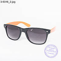Оптом очки солнцезащитные Вайфарер (Wayfarer) черно-оранжевые - 3-9316