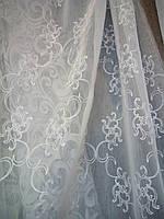 """Кристаллон вышивка """"Анабель"""" белый с утяж. в 2.80 м"""