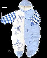 Детский весенний осенний комбинезон р. 80-86 для новорожденного из плащевки с махровой подкладкой 2094 Голубой