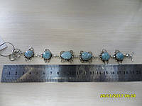 Браслет с натуральным камнем ларимар (доминикана) в серебре.