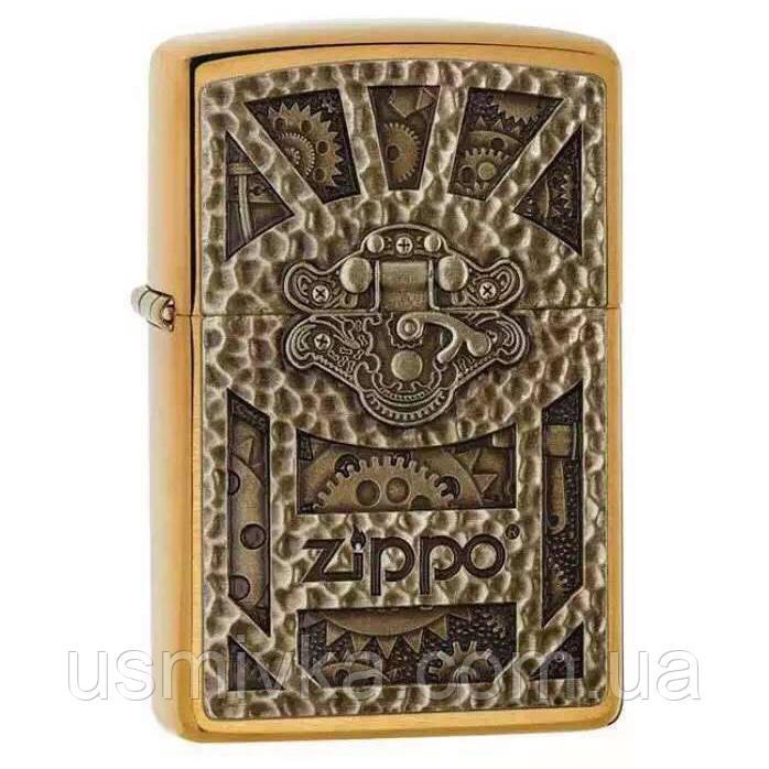 Зажигалка бензиновая zippo 29103 emblem brass