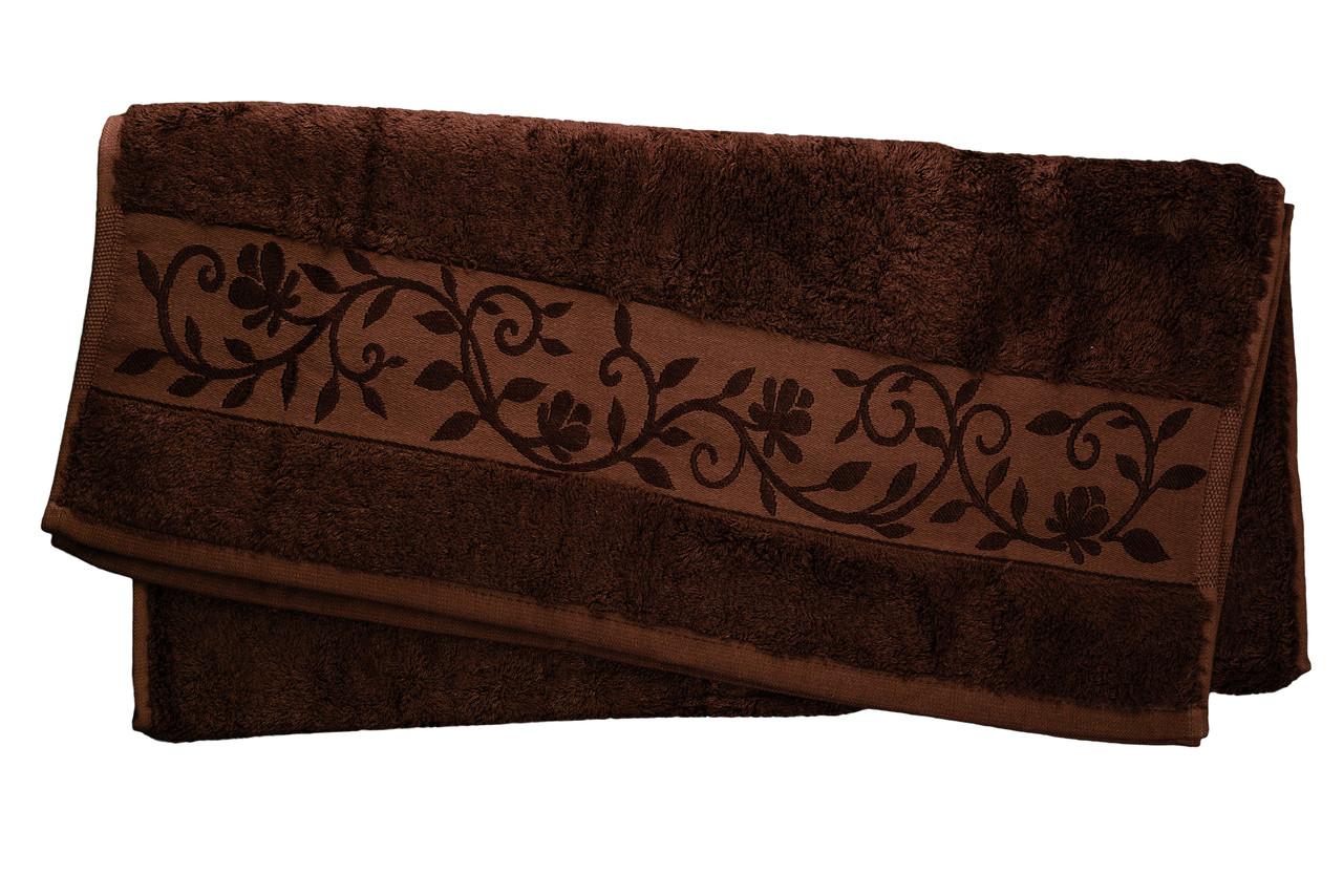 "Полотенце махровое ""Hanibaba"" бамбук 50x90 темно-коричневое"