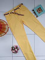Котонові штани для дівчаток 11-12 рочків жовті