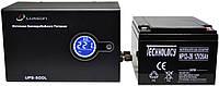 Комплект резервного питания ИБП Luxeon UPS-500L + АКБ TECHNOLOGY NP12-26Ah для 2-3ч работы газового котла, фото 1