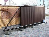 Автоматические откатные ворота из профнастила