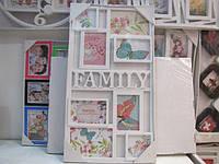 Семейная фоторамка коллаж с надписью Family, белого цвета на 8 фотографий