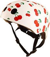Шлем детский Kiddimoto белый с вишенками, размер M 53-58см