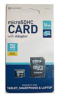 """Флешнакопитель  """"Microsd  Platinet Card"""" 16 gb,  с адаптером"""