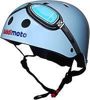 Шлем детский Kiddimoto с очками, голубой, размер S 48-53см