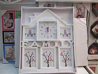 Часы с фоторамками и надписью Family,  белого цвета и на 5 фотографий