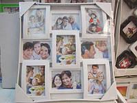 Красивая фоторамка коллаж на 9 фотографий, белого цвета