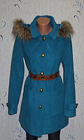 Модное Бирюзовое Полушерстяное Пальто с Мехом от Senfo Размер: 48-L
