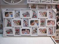 Большая семейная фоторамка коллаж на 18 фотографий белого цвета
