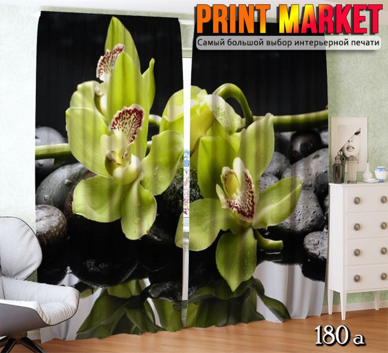 Фотошторы 3д орхидея на камнях