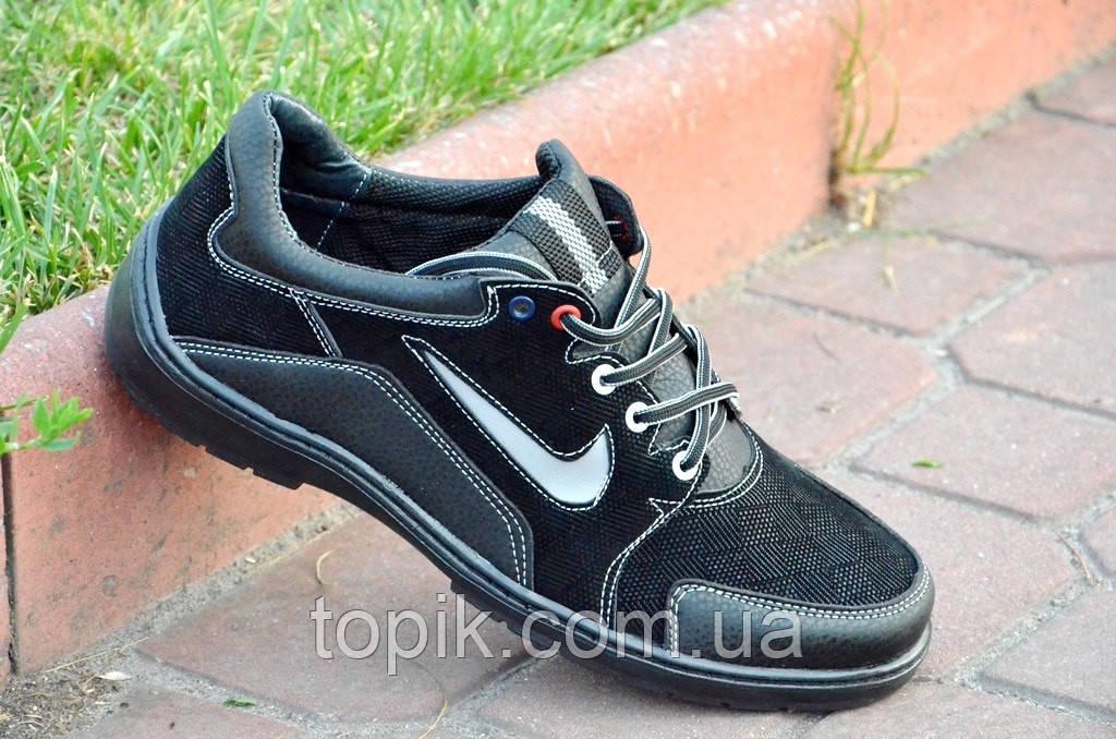 Кроссовки спортивные туфли  с рифленой отделкой удобные универсальные черные. (Код: 13), фото 1