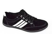 Три в одном мокасины кроссовки туфли мужские искусственная замша черные. (Код: 370), фото 1