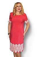 Женское платье большого размера с прошвой