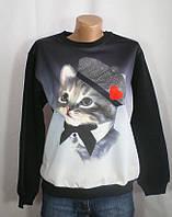 Молодежный оригинальный свитер с котиком