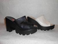 Женские сабо кожа на тракторной подошве, летняя женская обувь от производителя модель СТЛ828