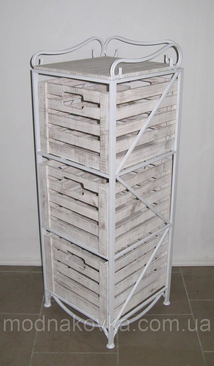 Этажерка-комод кованая (полка металлическая) на 3 ящика вертикальная белая