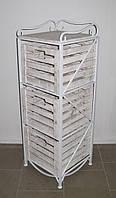 Этажерка-комод кованая (полка металлическая) на 3 ящика вертикальная белая, фото 1