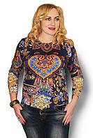 Женский ангоровый свитер большого размера с ярким принтом