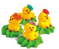 """Набор фигурок из мастики украшение для Пасхального кулича """"Весёлые цыплята"""""""