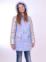 Куртка для девочки подростка с серебристыми рукавами