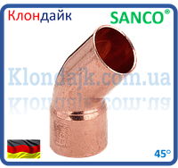 SANCO Колено медное 76/45° 1 муфта