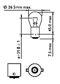 Светодиодная автомобильная лампа с цоколем 1156(P21W) 3W-Желтый, фото 2