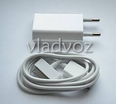 Комплект зарядное + USB кабель Iphone 2, 3g, 4, Ipod, IPad 2в1 белое