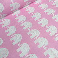 Бязь,хлопковая ткань со слонами белого цвета на розовом фоне № 404