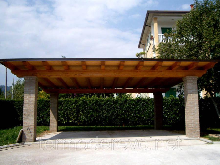 Навес из дерева с плоской крышей для участка ТЕРМОДЕРЕВО ТМ