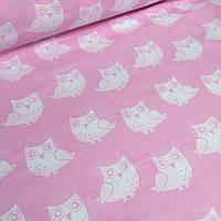 Ткань розового цвета с белыми совами № 405