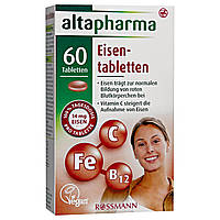 Altapharma Eisentabletten - Железо + витамин С + витамин В12 в таблетках, 60 табл.