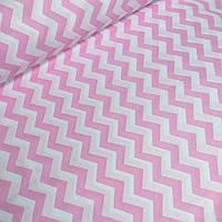 Ткань хлопковая с розовым  зигзаг №37