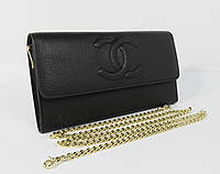 Клатч женский кожаный Chanel 1137 черный на цепочке