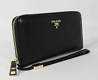 Кошелек женский кожаный на молнии Prada 60019-A черный, расцветки