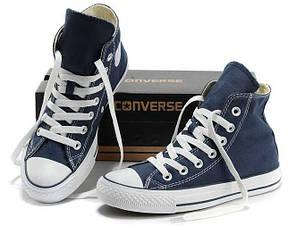 Converse All Star High женские кеды синие топ реплика, фото 2