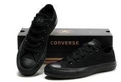 Женские кеды Converse All Star низкие черные топ реплика
