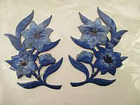 """Аплікація вишивка клейова парна """"Квіти"""" темно-сині, 10 см 1пара"""