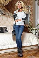 Жіночий светр з ангори з мереживом на рукавах 44-50 розміру, фото 1