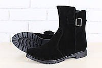 Ботинки женские, демисезонные, черные, из натуральной замши, на байке, на замочке, без каблука