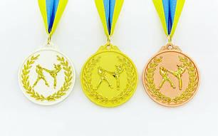 Медаль спортивная с лентой двухцветная d-6,5см Единоборства C-4853 -2 серебро, фото 2