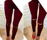 """Стильные женские лосины """"Jenifer """" с разрезами на коленах,ткань дайвинг-эластик,цвета черный, бордо"""