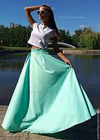 Яркая длинная юбка в пол стрейч-коттон